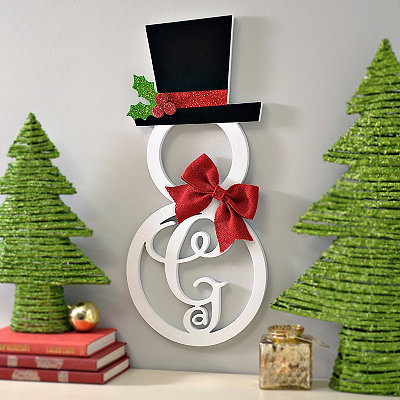 Hatted Snowman Monogram G Wall Plaque
