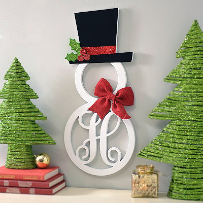 Hatted Snowman Monogram H Wall Plaque