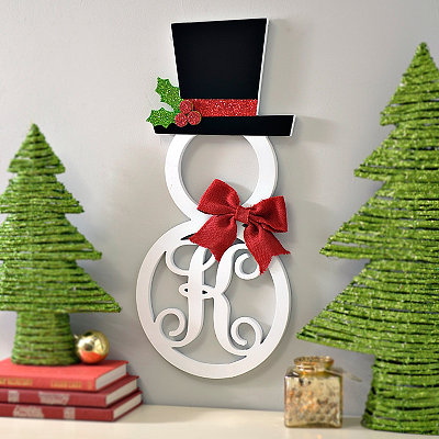 Hatted Snowman Monogram K Wall Plaque