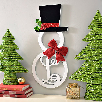Hatted Snowman Monogram L Wall Plaque