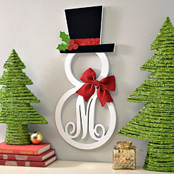 Hatted Snowman Monogram M Wall Plaque