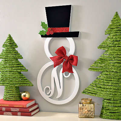 Hatted Snowman Monogram N Wall Plaque