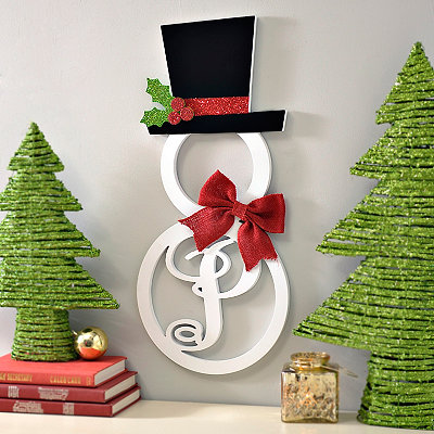 Hatted Snowman Monogram P Wall Plaque