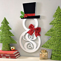 Hatted Snowman Monogram S Wall Plaque