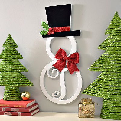 Hatted Snowman Monogram T Wall Plaque