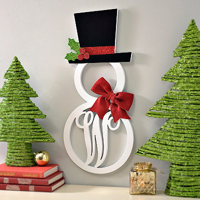 Hatted Snowman Monogram W Wall Plaque