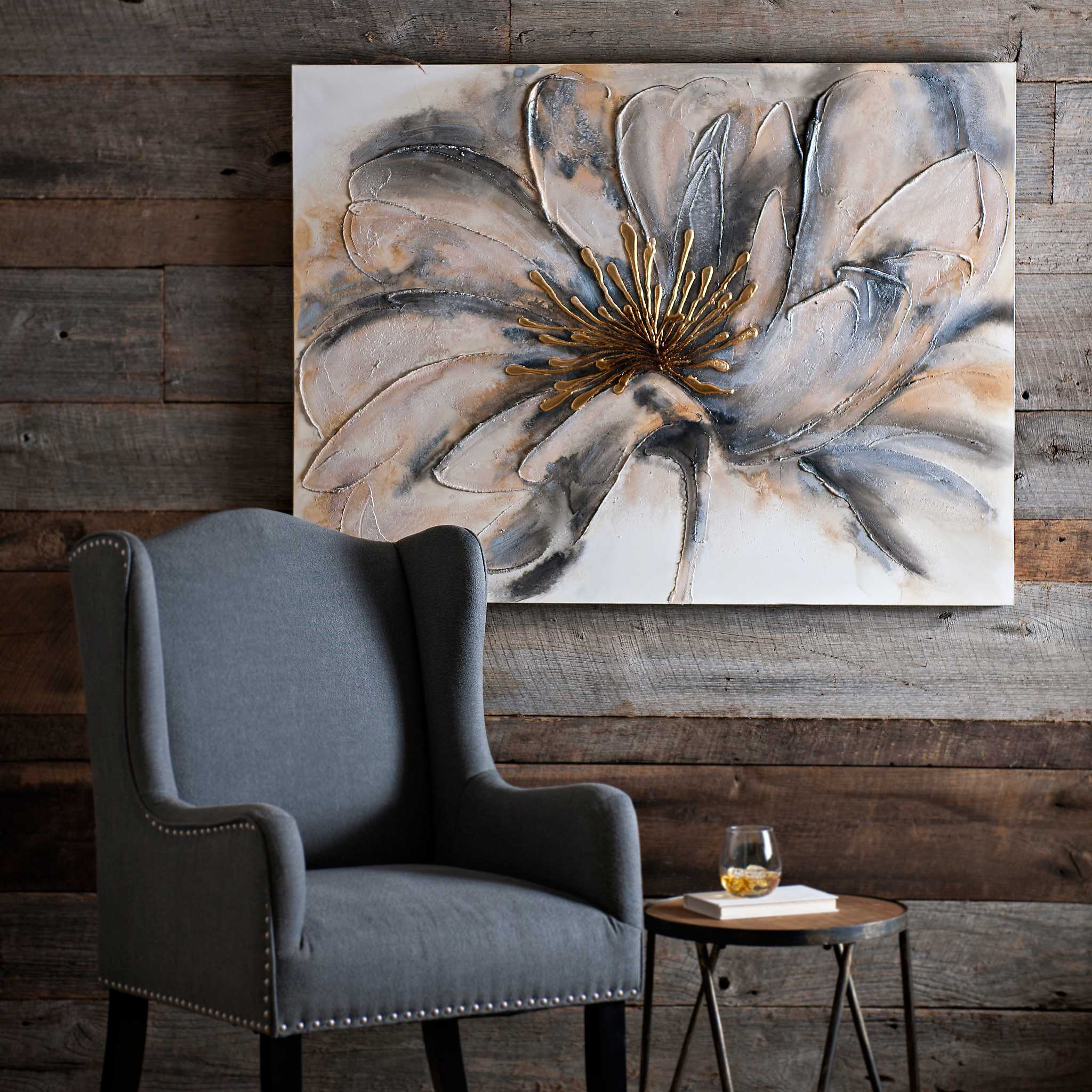 Gold and Gray Bloom Canvas Art | Kirklands