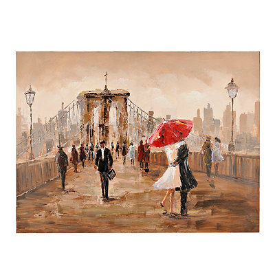 Red Umbrella Haze Canvas Art Print