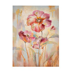 Metallic Spring Flower Canvas Wall Art