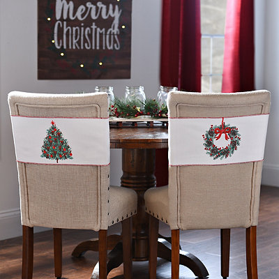 Christmas Tree and Wreath Chair Bands, Set of 2