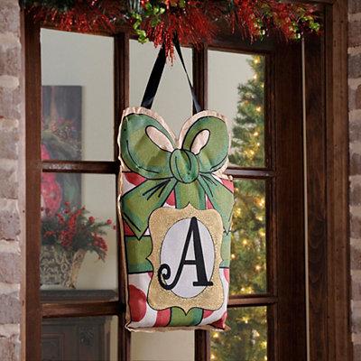 Christmas Present Monogram A Burlap Wall Hanger