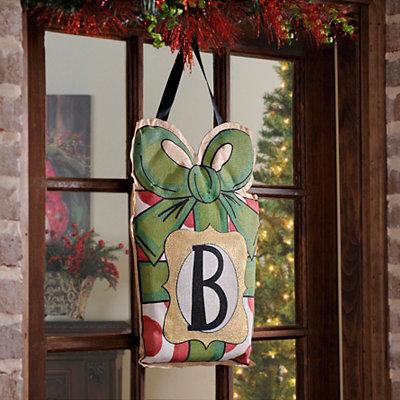 Christmas Present Monogram B Burlap Wall Hanger
