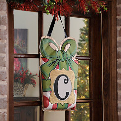 Christmas Present Monogram C Burlap Wall Hanger