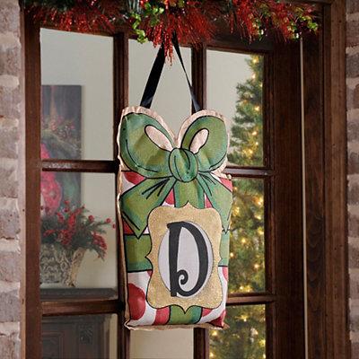 Christmas Present Monogram D Burlap Wall Hanger