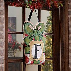 Christmas Present Monogram F Burlap Wall Hanger