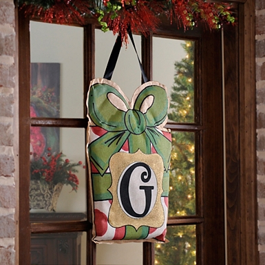 christmas present monogram g burlap wall hanger - Christmas Wall Decor