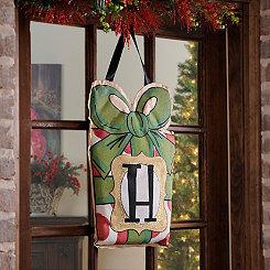 Christmas Present Monogram H Burlap Wall Hanger