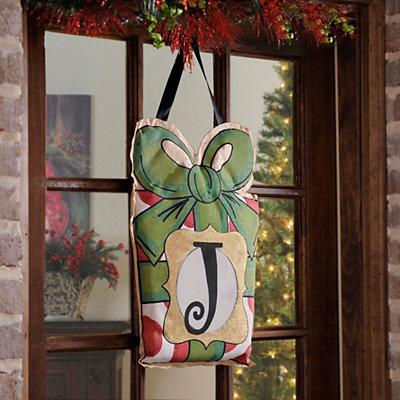 Christmas Present Monogram J Burlap Wall Hanger