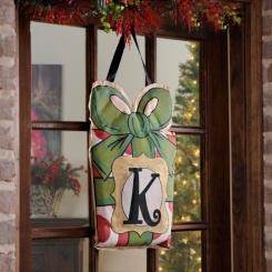 Christmas Present Monogram Burlap Wall Hangers