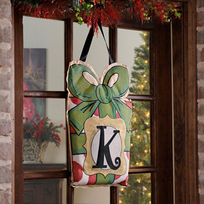 Christmas Present Monogram K Burlap Wall Hanger
