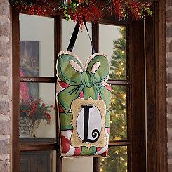 Christmas Present Monogram L Burlap Wall Hanger