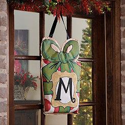 Christmas Present Monogram M Burlap Wall Hanger