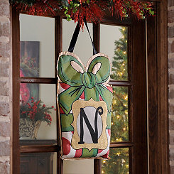 Christmas Present Monogram N Burlap Wall Hanger
