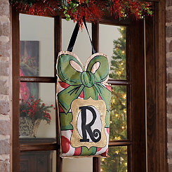 Christmas Present Monogram R Burlap Wall Hanger