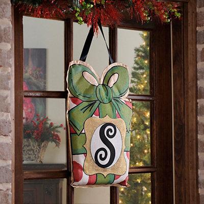 Christmas Present Monogram S Burlap Wall Hanger