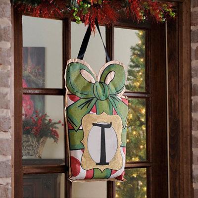Christmas Present Monogram T Burlap Wall Hanger