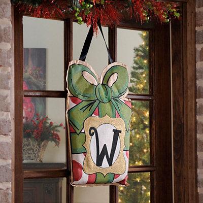 Christmas Present Monogram W Burlap Wall Hanger