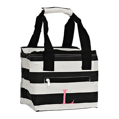 Striped Kaleidoscope Monogram L Lunch Tote