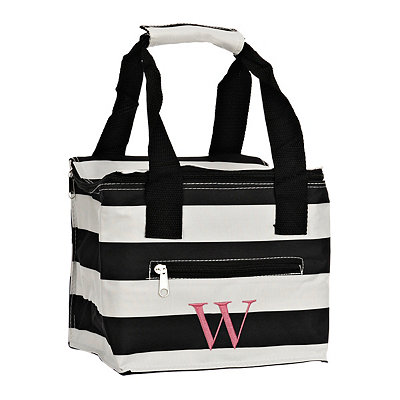 Striped Kaleidoscope Monogram W Lunch Tote