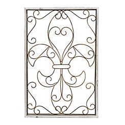 Scroll Fleur-de-Lis Wood and Metal Plaque