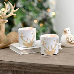 Gold Deer Antler Tealight Candle Holders, Set of 2