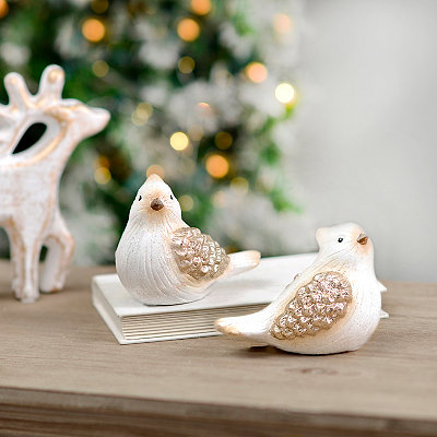Golden Glittered Sitting Birds, Set of 2
