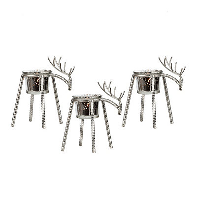 Silver Wire Deer Tealight Candle Holders, Set of 3