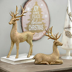 Posing Golden Reindeer Statues, Set of 2