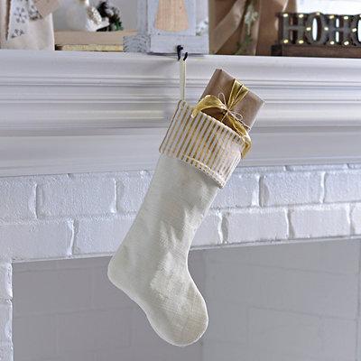 Gold Striped Cream Stocking