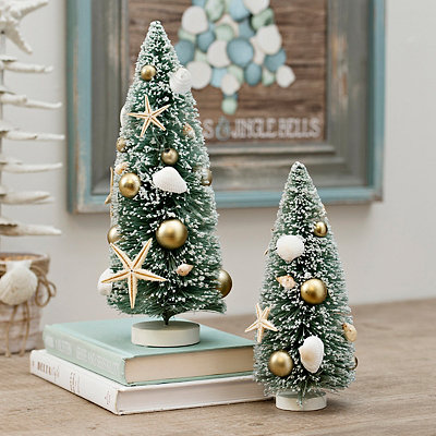 Small Coastal Christmas Trees, Set of 2