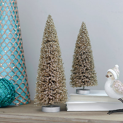 Small Golden Christmas Trees, Set of 2