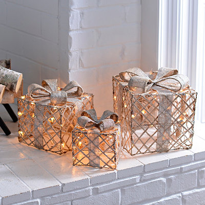 Pre-Lit Champagne Wrapped Gift Boxes, Set of 3