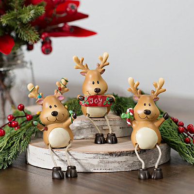 Smiling Reindeer Shelf Sitters, Set of 3