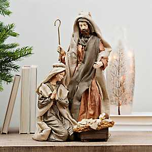 Burlap Holy Family Statue