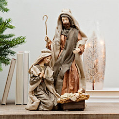 Burlap Holy Family Statue