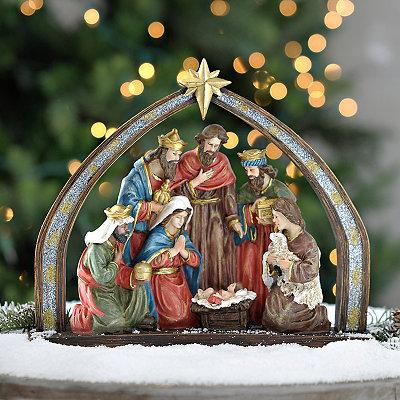 Traditional Nativity Scene and Creche Statue