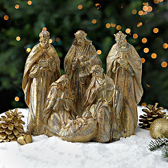 Golden Antique Nativity Scene