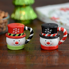 Top Hat Snowman Salt and Pepper Shakers, Set of 2