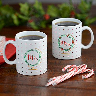 Mr. and Mrs. Wreath Globe Mugs, Set of 2