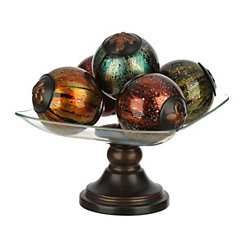 Polished Glass Orb and Bowl Set